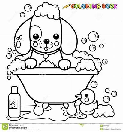 Coloring Bath Dog Taking Tub Bubble Vector