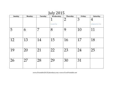 Printable July 2015 Calendar