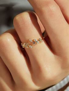 Rhinestone Decor Cuff Ring 1pc Shein Womens Jewelry