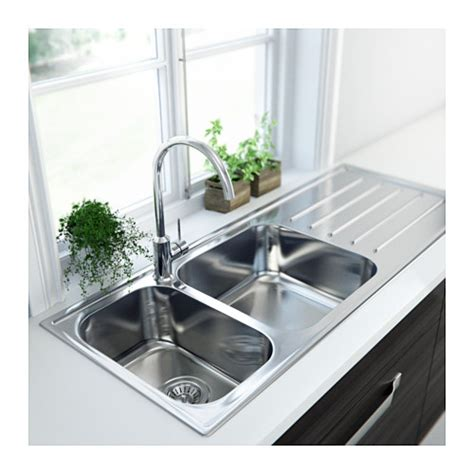 ikea stainless steel sink boholmen 2 bowl inset sink with drainer stainless steel