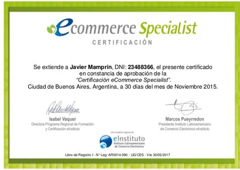 Ecommerce Specialist by Certificaci 243 N Ecommerce Specialist