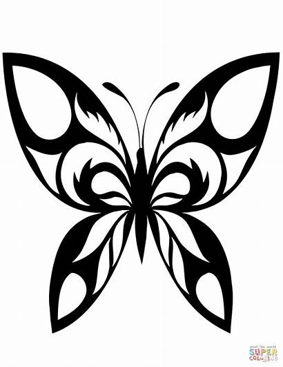 Coloring Tattoo Butterfly Pages Drawing Printable Tribal