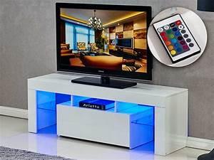 Meuble Tv Led Blanc Laqué : meuble tv led borda 130 x 34 x 45 cm blanc laq 85392 ~ Teatrodelosmanantiales.com Idées de Décoration
