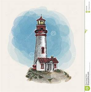 Lighthouse With Watercolor Doodle Vector Stock Vector ...