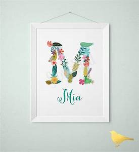 personalized baby name wall art vintage floral letters With personalised letters for nursery