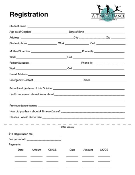 Registration Formwaiver  A Time To Dance