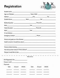 registration form gallery download cv letter and format With dance school registration form template free