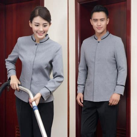 solid color chinese style housekeeping uniform blouse