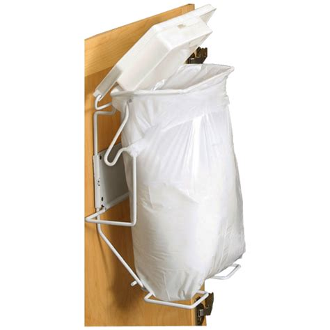 rack sack bathroom trash can system in cabinet trash cans