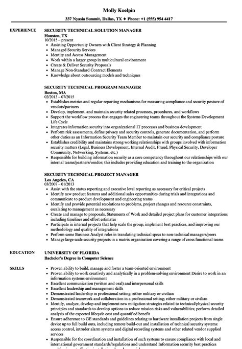Technical Program Manager Resume Sle by Security Technical Manager Resume Sles Velvet