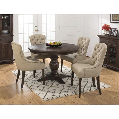 Geneva Hills Round to Oval 5 Piece Dining Set with Upholstered Side Chairs   [678 60B 678 60T