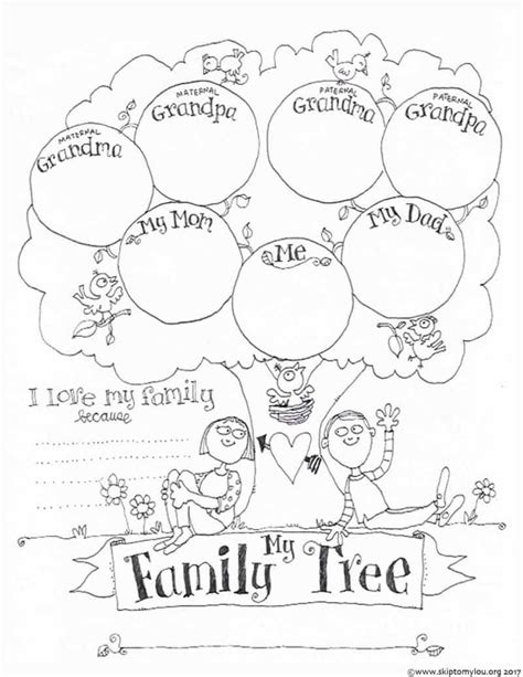 printable family tree coloring page family tree