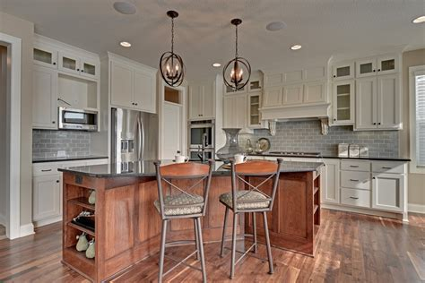 grey subway tile Kitchen Traditional with butcher block