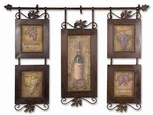 set 5 vintage wine wall decor metal art frame collage With kitchen cabinets lowes with wine collage wall art