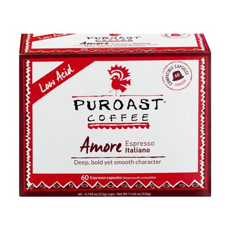 Puroast low acid coffee® is 100% coffee with low acid levels. Puroast Amore Espresso Italiano Low Acid Coffee Pods, 60 ct - Walmart.com - Walmart.com