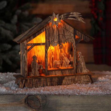 noma led lit nativity scene bo natural wood