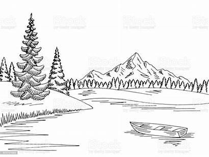 Lake Mountain Landscape Sketch Vector Illustration Graphic