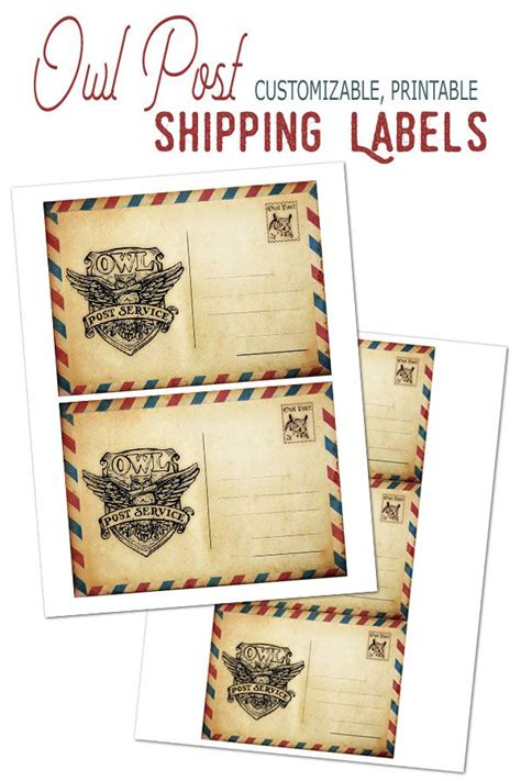 owl post printable shipping labels postcard customizable