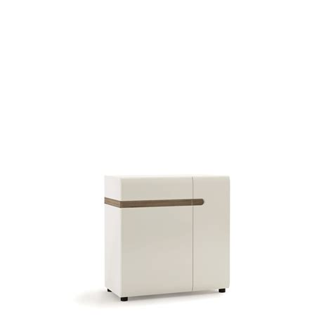 Gloss Sideboard by Small White High Gloss Sideboard With Oak Finsh Trim