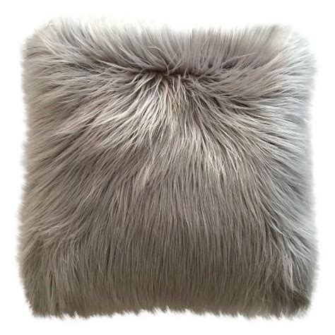 gray fur pillow threshold haired gray fur pillow