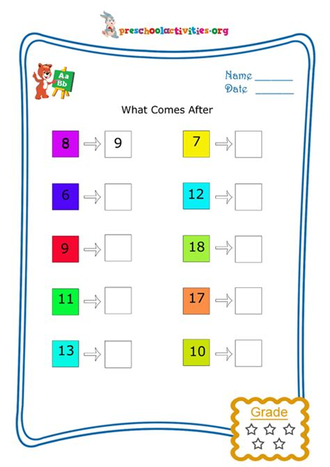 what comes after preschool what comes after numbers free worksheet 739