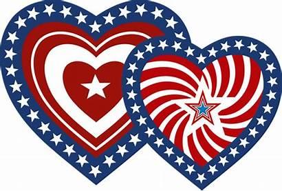 Patriotic Clip Clipart Heart Hearts Transparent America