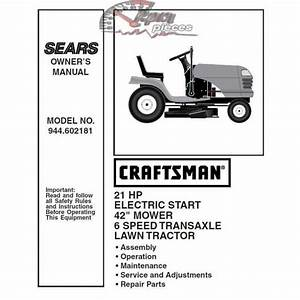 Craftsman Tractor Parts Manual 944 602181