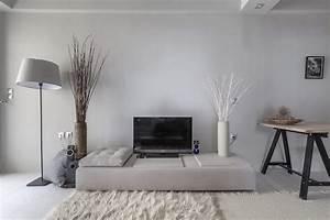 Blanc Cassé Peinture : peinture gris perle et meubles blanc cass en d co mini studio ~ Melissatoandfro.com Idées de Décoration