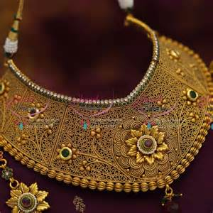 bridal jhumka earrings ch0977 broad choker necklace antique ad stones grand