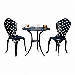 Gartenmöbel 3er Set : aluminium 3er set gartenm bel 2 st hle tisch schwarz antik sitzgarnitur bistro ebay ~ Indierocktalk.com Haus und Dekorationen