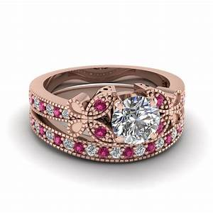 engagement ring sets fascinating diamonds With pink gold wedding ring sets