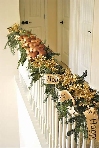 Garland Christmas Decorations Stairs Decoration Garlands Decorated