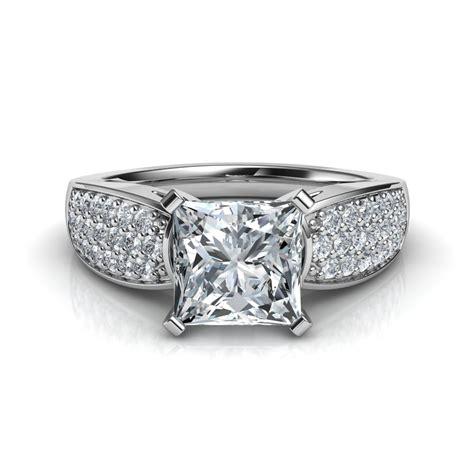 wide band design pave princess cut diamond engagement ring