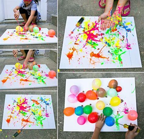 craft ideas on canvas hello wonderful balloon splatter painting with tools 3928