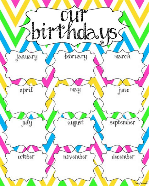 Birthday Chart Template For Classroom by 6 Best Images Of Classroom Birthday Calendar Printable