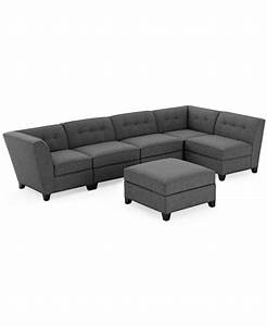 Harper fabric 6 piece modular sectional sofa with ottoman for Fabric modular sectional sofa 6 piece