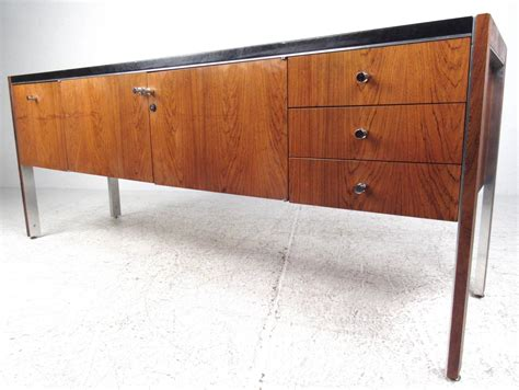 Herman Miller Credenza by Mid Century Modern Leather Top Rosewood Office Credenza By