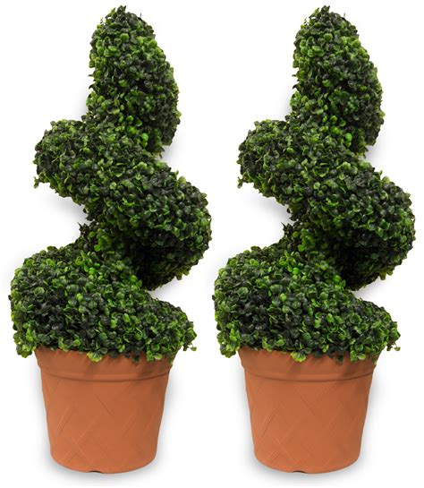 pair of woodside artificial topiary swirl trees bushes