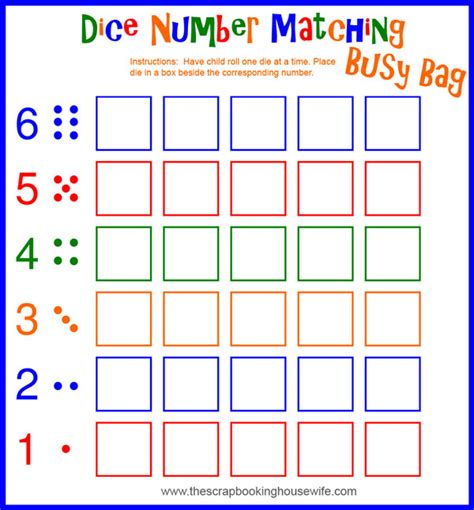 ellabella designs busy bags for preschoolers dice 414 | dice number matching WEB