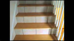 Wood Stair Nosing For Tile by Tiled Stairs Risers And Basement Floor Youtube