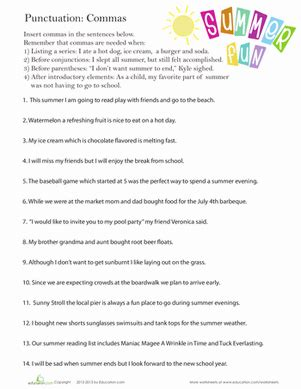 punctuation commas in a series worksheet education com