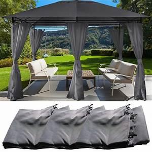Toile Pour Tonnelle 3x3 : jeu de 6 rideaux gris pour tonnelle gloria 3 x 4 m ~ Melissatoandfro.com Idées de Décoration