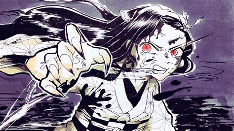 demon slayer nezuko kamado  red eyes long hair