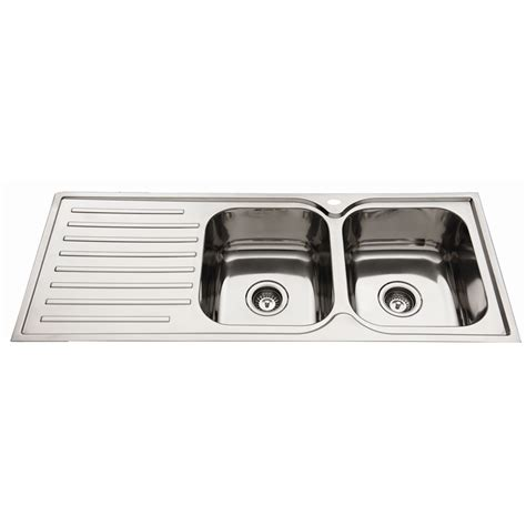 everhard kitchen sinks everhard 1180mm squareline rh 2 bowl kitchen sink with drainer 3616