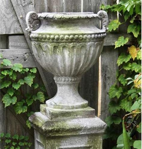 fluted and beaded fiberglass urn white moss finish