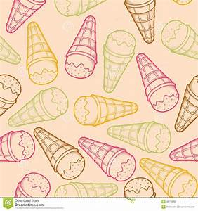 Detailed Graphic Ice Cream Cone Seamless Pattern. Colorful ...