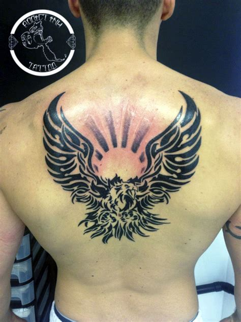 Tatouage Aigle Tribal Avec Soleil Ombrage  Addict Ink Tattoo