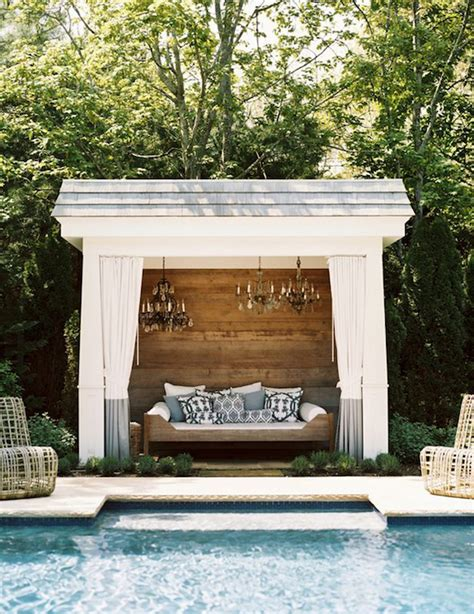 Pool Cabana With Chandeliers  Transitional Pool
