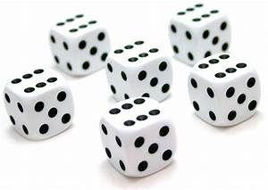 6x White (six-sided) Dice - 16mm
