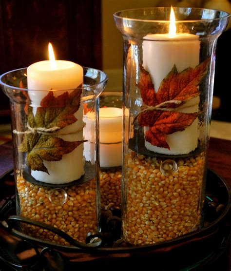Candle Decorating With Glasses by Thanksgiving Fall Decorations Hurricane Vases Amanda